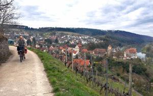 Der Fränkische Marienweg-Südroute: BayerYogi in den Weinbergen bei Homburg am Main
